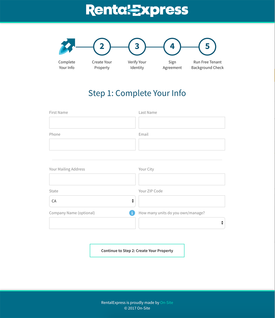 The first page of the registration workflow.